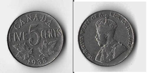 1933  CANADA 5 Cent Nickel mid  grade