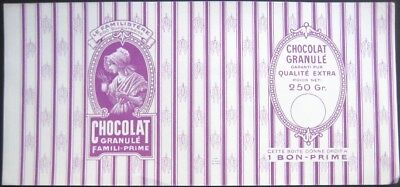 Hot Chocolate/Chocolat Granule 1920s French Can Label - File Sample - Purple