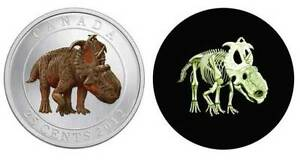 Dinosaur-2012-Glow-in-the-dark-Coin-25-Cent-Coloured-Canada-READY-TO-SHIP