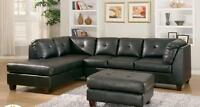 SALE ENDS SEP 07 Black Bonded Leather Sectional R Or L 1099