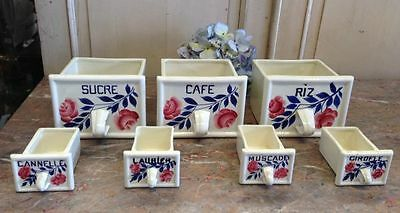 Christmas Gift French Vintage Set of Seven Ceramic Spice Drawers Canisters -g129