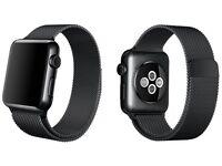 Apple watch 42mm Saphire Crystal (SPACE BLACK) Milasese loop