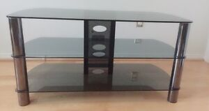 Wide TV Stand -Metal Posts, Tempered Glass, Built-in Wire Manage