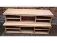2 x long Ikea light wood TV /coffee tables with shelves £15 each