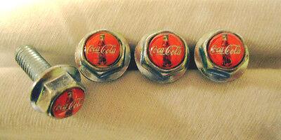 Coca-Cola Soda License Plates Screws, Coca Cola Logo Plate Screws, Coke Screws