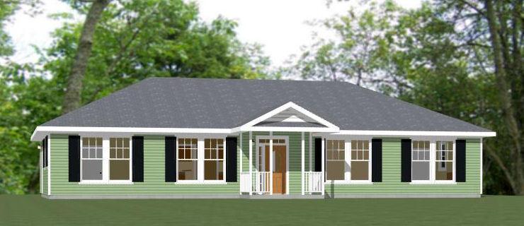 60x30 House -- 4 bedroom 3 Bath -- 1,800 sqft -- PDF Floor Plan -- Model 1A