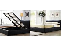 HYGENA HIGH QUALITY DOUBLE LEATHER BEDS BRAND NEW FAST FREE DELIVERY :::