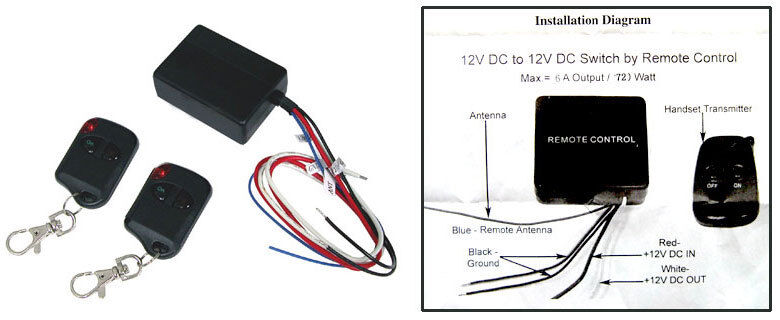 Logisys RM01 Remote Control Relay 12VDC On/Off Kit Two Remote Keychains
