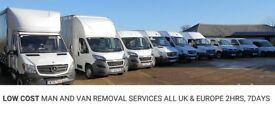 CHEAP MAN AND VAN/REMOVALS, FROM £15P/H, 7 DAYS, ALL UK & EUROPE, INSTANT ONLINE QUOTE