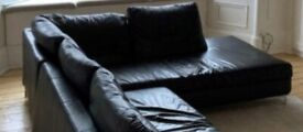 Black real leather sofa £100