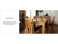 BRAND NEW STILL IN BOX-extendable oak dining table