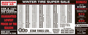 FOUR NEW WINTER TIRES 225/70R16 $517.45 TAX IN