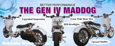 Owner 4TH GEN ICE BEAR MADDOG 49cc FULL SIZE Motor Bike Gas Scooter Moped Street Legal