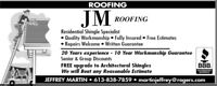 JM ROOFING Book now for Spring & Save $$$