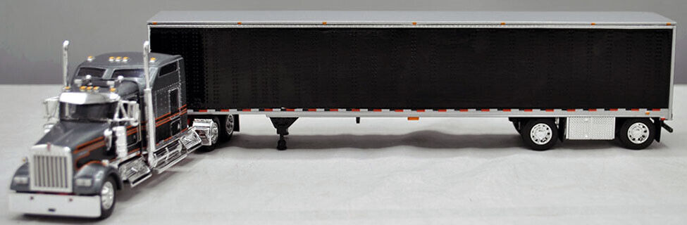 DCP GREY BLACK KW W900L SLEEPER BLACK SPREAD AXLE UTILITY VAN TRAILER 60-0790
