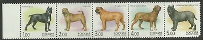 2002 Dogs strip of 5 SG#7082a mint as scan