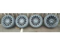 "FORD FOCUS RS BLACK 18"" ALLOY WHEELS SET WITH TYRES"