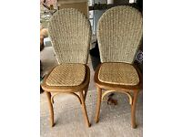 Chairs x 2 - wicker dining chairs almost like Raffles, Singapore