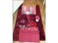 Clock / lamp / rug / lampshade / curtains / 2 x cushions / flowers