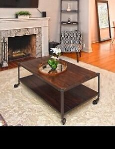 Wood & Cast Iron Coffee Table on wheels