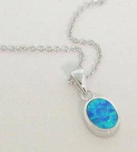 Genuine Solid Sterling Silver Blue Opal Pendant 16