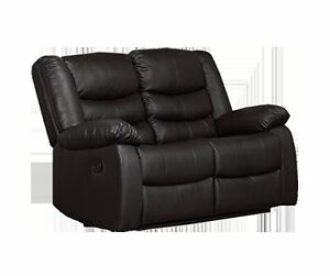 RECLINER 2 SEAT COUCH IN BLACK OR BROWN LEATHER FLOOR MODEL