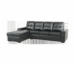 SECTIONAL SOFA IN BLACK LEATHER LOOK FOR ONLY 599$ FLOOR MODEL