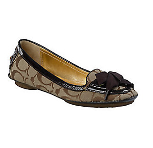 AUTHENTIC COACH SIGNATURE FLATS In BROWN