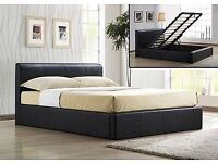 **DOUBLE STORAGE LEATHER BED WITH CROWN FULLY ORTHOPAEDIC MATTRESS - BRAND NEW - FOR SALE
