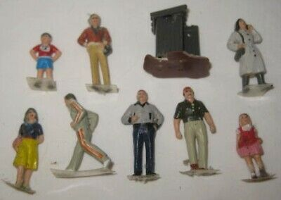 Old 10 pc Miniature Rubber Village People for Christmas or Train Set