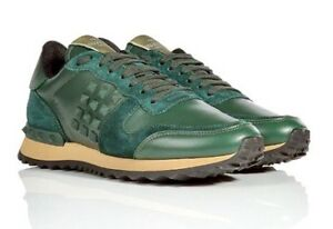 VALENTINO Rockrunners Forest Green Leather + Suede