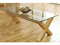 Contemporary Oak & Glass Coffee Table