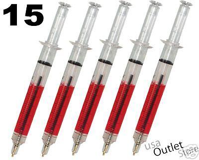 15 Syringe ball Pens RED