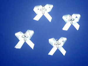 4 White Crosses on Ribbon Bows .. NEW