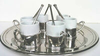 6 Tukisk, Coffee Demi Tasse made of Zamak and Porcelain Inserts