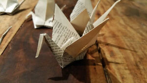 Hand folded Origami Cranes for garland, or ornaments London Ontario image 6