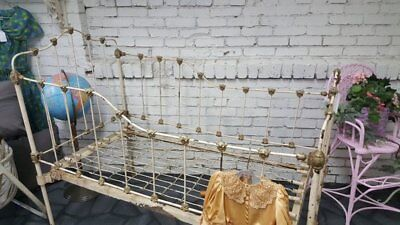Antique Victorian Childs Crib Cast Iron Bed
