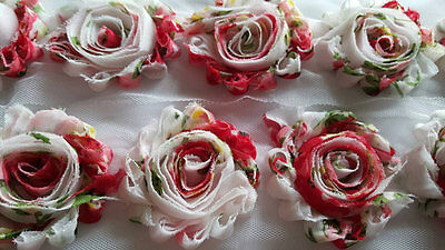 "wholesale 2.5"" shabby flower chiffon trim 1 yard ROSE FLOWER for headband, bows"