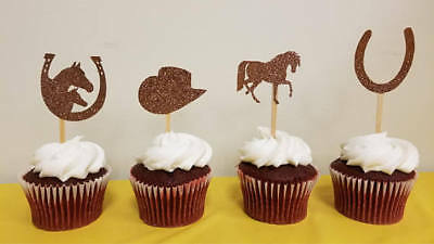 Western Cowboy Theme Glitter Bronze Color Double-Sided Cupcake Toppers Set Of 12 - Cowboy Cupcakes