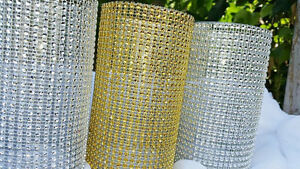 VASES COVERED IN SILVER & GOLD RHINESTONE MESH FOR SALE