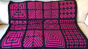Pink and Black Crocheted Blanket; Target; Criss Cross