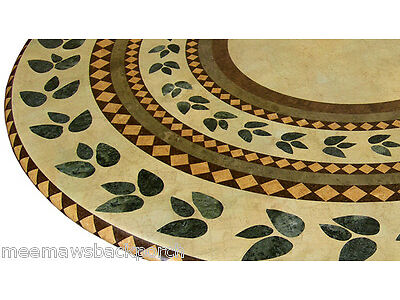 Made in USA Mosaic Leaf ROUND FITTED Dining TABLECLOTH Patio Picnic TABLE COVER