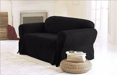 Chezmoi Collection Soft Heavyweight Microsuede Cover Slipcover Sofa/Couch Black