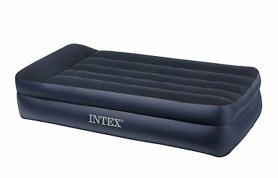 Intex Twin Raised Pillow Air Mattress Bed with Built-In Electric Pump | 66705E