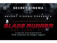Secret Cinema Blade Runner - The Final Cut - Saturday 24th March FIVE (5) Tickets SELLING FACE VALUE