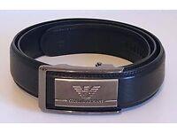 Men's Giorgio Armani Automatic Buckle Black Leather Belt, Size XL 50 125