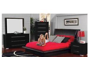 Bed frame and dresser, all black $150