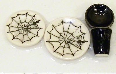 Miniature Halloween Spider Web Place Setting Plates Cup Bowl for 1:12 Dollhouse - Places For Halloween