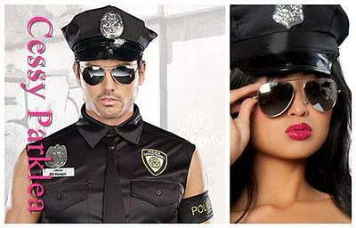 Policeman Policewomen Cop Hat Costume Accessories Black One Size Fits Most - Cop Accessories