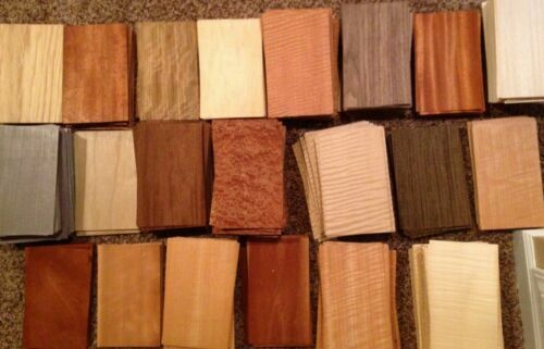"""WOOD VENEER 5"""" x 8"""" 65 pieces sheets domestic exotic marquetry variety cricut"""